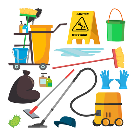 Cleaning Supplies Vector. Professional Commercial Cleaning Equipment Set. Cart, Vacuum Cleaner. Isolated Illustration. Vettoriali