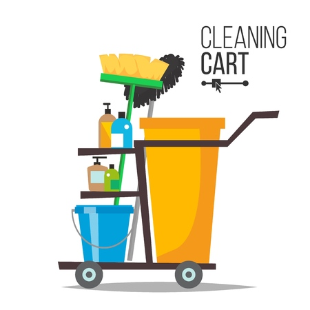 Cleaning Cart Vector. Classic Trolley Cleaning Service Cart. Broom, Bucket, Detergents, Cleaning Tools, Supplies. Yellow Plastic Janitor Cart With Shelves Illustration
