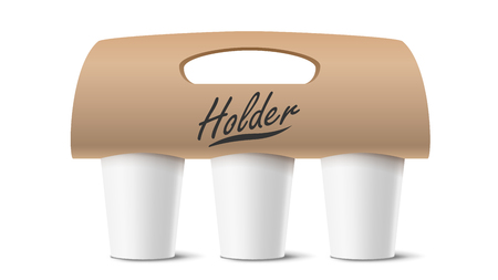 Coffee Cups Holder Vector. Realistic Mockup. Empty Packaging For Carrying. Three Cups. Hot Drink. Take Away Cafe Coffee Cups Holder Mockup. Isolated Illustration Illusztráció