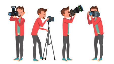 Fotograf Vektor. Fotostudio. Fotograf machen Fotos. Digitalkamera und professionelle Fotoausrüstung. Fotografieren. Getrennt auf weißer Zeichentrickfilm-Figur-Illustration Standard-Bild - 91391784