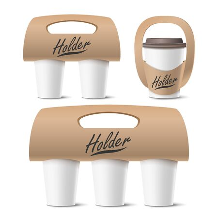 Coffee Cups Holder Set Vector. Realistic Mockup. Empty Packaging For Carrying. One, Two, Three Cups. Hot Drink. Take Away Cafe Coffee Cups Holder Mockup. Isolated Illustration
