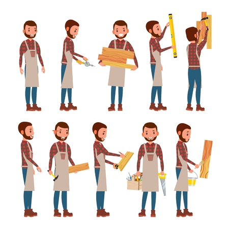 Professional Carpenter Vector. Foreman. Male In Different Poses. Profession. Flat Cartoon Illustration