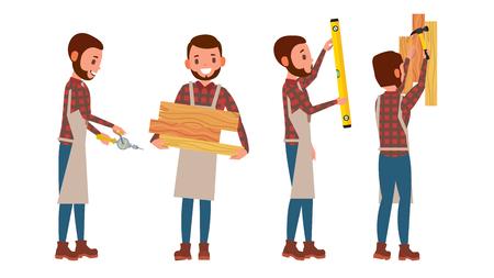 Carpenter Vector, Worker Different Poses. Full Length Flat Cartoon Illustration Stock Illustratie