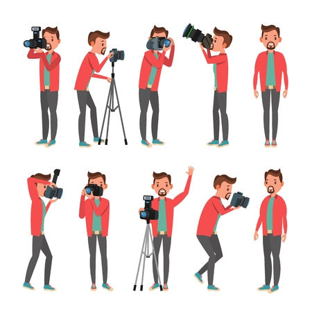 Photographer Vector. Photo Studio. Photographer Making Photos. Digital Camera And Professional Photo Equipment. Taking Pictures. Isolated On White Cartoon Character Illustration  イラスト・ベクター素材