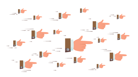 Pointing Finger Sign Vector. Flying Businessman Hands. Social Media Look Symbols Networking Concept. Showing Direction Or Way. Illustration