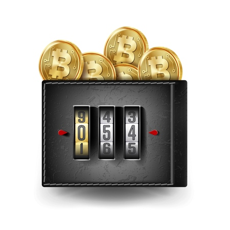 Bitcoin Leather Wallet Vector. Fintech Blockchain. Bitcoins Trading. Locked With Combination Code Lock. Finance Secure Concept. Isolated On White Background Illustration