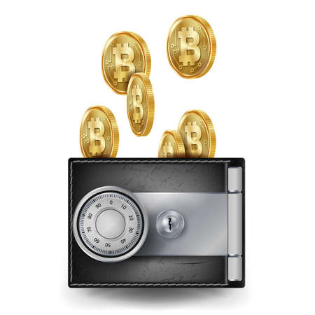 Realistic Bitcoin Wallet Vector. Locked With Padlock. Money. Top View. Finance Secure Concept. Investment Concept. Futuristic Digital Money. Isolated On White Background Illustration