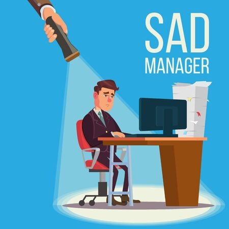 Sad Manager illustration. Vectores