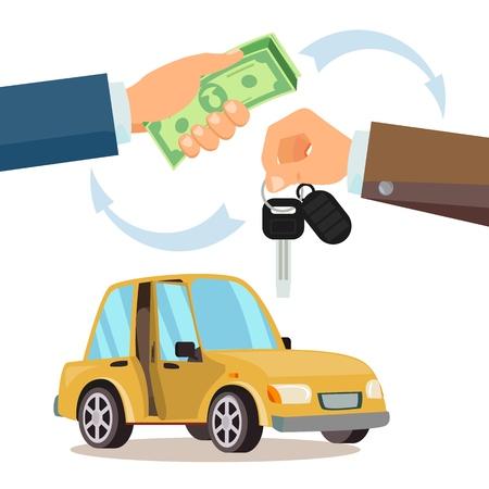 Kupowanie wektora samochodu. Dealer, ręka kupującego. Salon samochodowy. Płaska ilustracja