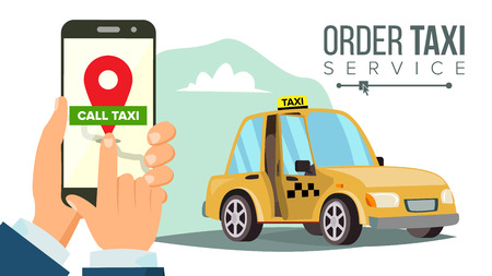 Booking Taxi Via Mobile App Vector. Hand Holding Smartphone. Taxi Ordering Service. Online Mobile Taxi Order. Call By Phone. Flat Illustration