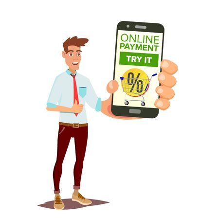 Online Mobile Payment; Man holding mobile phone showing payments application; Commerce Concept; Wireless Money Transfer Isolated in background, Flat style,   Cartoon Illustration