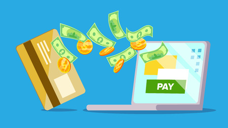 Laptop Payment Vector. Online Payments Concept. Bill Heap. Online Shopping On Laptop. Isolated Flat Cartoon Illustration Illustration