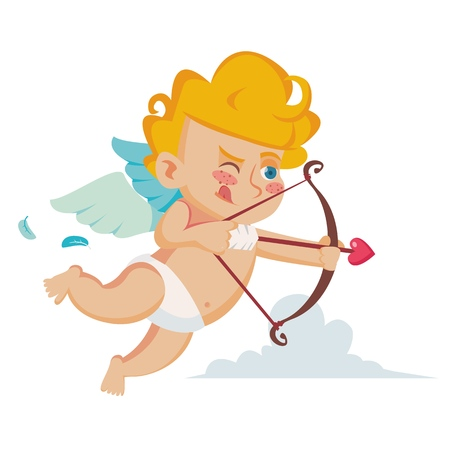 Classic Cupid Vector. Cupids Silhouette. Valentine Day. Shoots A Bow. Flat Cartoon Illustration Illustration