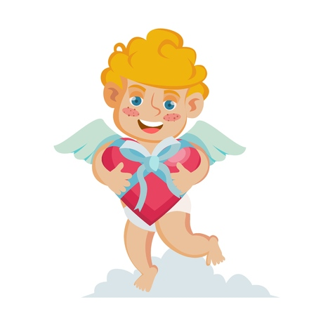 Cupid Vector. Happy Valentine s Day. Holding A Box Present In Form Of Heart. Isolated On White Cartoon Character Illustration Illustration