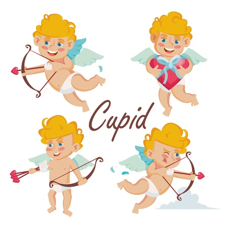 Cupid Set Vector. Cupids Bow. Cupid In Different Poses. Happy Valentine s Day. Element For Graphic Design. Isolated Flat Cartoon Character Illustration