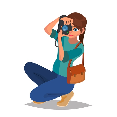 Photographer Woman Vector. Photo Equipment. Camera. Studio Photography. Isolated Flat Cartoon Character Illustration Vettoriali