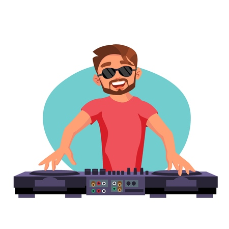 Professional Dj Vector. Playing Disco House Music. Mixing Music On Turntables. Party Dance Concept. Isolated On White Cartoon Character Illustration