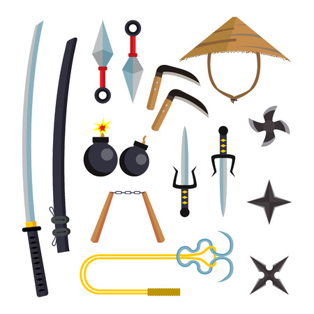 Ninja Weapons Set Vector. Assassin Accessories. Star, Sword, Sai, Nunchaku. Throwing Knives, Katana, Shuriken. Isolated Flat Cartoon Illustration