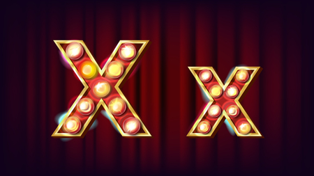 X Letter Vector. Capital, Lowercase. Font Marquee Light Sign. Retro Shine Lamp Bulb Alphabet. 3D Electric Glowing Digit. Vintage Gold Illuminated Light. Carnival, Casino Style. Illustration