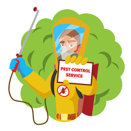 Anti Microbes Sanitation Vector Concept. Worker Spraying Pesticide. Chemical Protective Suit Termites. Disinfection. Isolated On White Cartoon Character Illustration Illustration