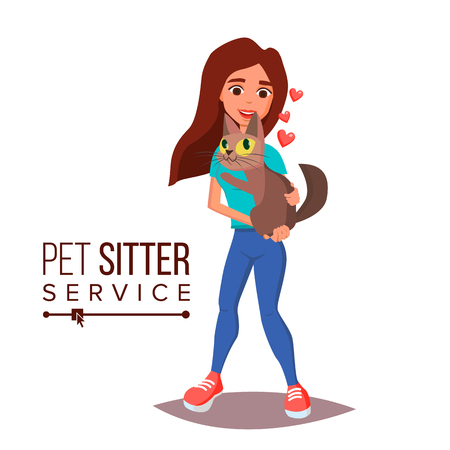 Cat Pet Sitter Service Vector. Professional Pet Sitter Woman. Cat Walking Service. Isolated On White Cartoon Character Illustration 일러스트