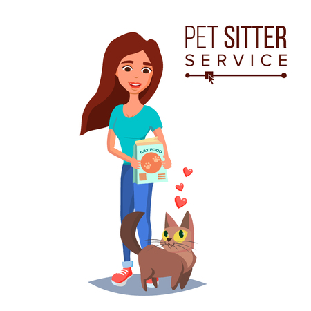 Cat Pet Sitter Vector. Cat Sitter Walking. Pet Taking A Rest. Cartoon Character Illustration