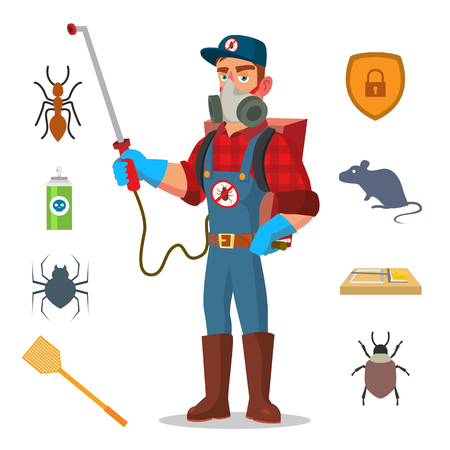 Anti Germs Vector. Exterminator. Spraying Pesticide. Chemical Protective Suit Termites. Disinfection. Cartoon Character Illustration 免版税图像 - 92166296