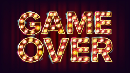 Game Over Banner Vector. Casino 3D Glowing Element. For Slot Machines, Card Games Design. Illustration Vettoriali