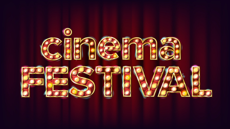 Cinema festival sign vector. Cinema lamp background. For concert, party advertising design. Illustration