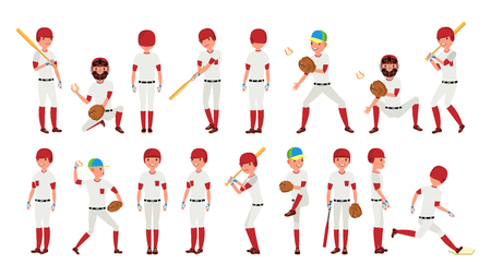 Professional Baseball Player Vector. Powerful Hitter. Dynamic Action On The Stadium. Isolated On White Cartoon Character Illustration