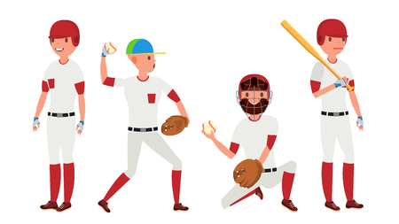 Classic Baseball Player Vector. Classic Uniform. Different Action Poses. Flat Cartoon Illustration Çizim