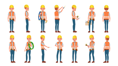 Electrician Worker Male Vector. Makes Electrical Equipment. Different Poses. Cartoon Character Illustration Vettoriali