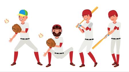 Baseball Player Vector. Sport Action On The Stadium. Powerful Hitter. Isolated Flat Cartoon Character Illustration