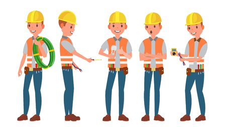 Electrician Vector. Different Poses. Working Process. Flat Cartoon Illustration. Illustration