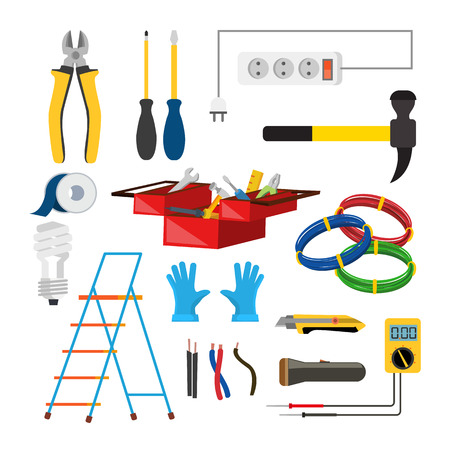 Electrician Icons Set Vector. Electrician Accessories. Stepladder, Gloves, Light Bulb, Wire, Screwdriver Lantern Knife Voltmeter Wire Isolated Illustration. Illustration