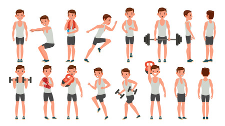 Fitness Man Vector. Different Poses. Weight Training. Exercising Male. Man Figures Is Training On Sport Club. Isolated On White Cartoon Character Illustration. Vettoriali