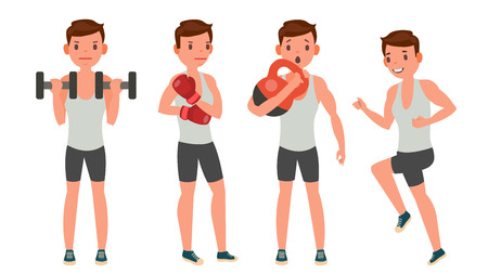 Fitness Man Vector. Different Poses. Work Out. Active Fitness. Flat Cartoon Illustration.
