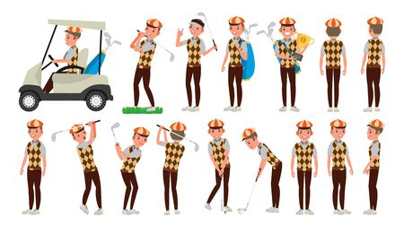 Golf Player Male Vector. Hitting Golf Ball. Playing Man. Different Poses. Cartoon Character Illustration. Vectores