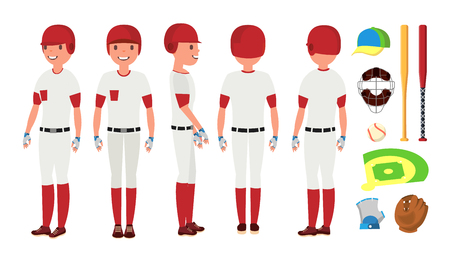 Classic Baseball Player Vector. Classic Uniform. Different Action Poses. Flat Cartoon Illustration. Illustration