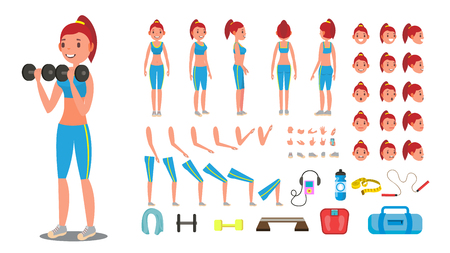 Animated sport female character creation set. Full length, front, side, back view, accessories, poses, face emotions, gestures. Isolated flat cartoon illustration.