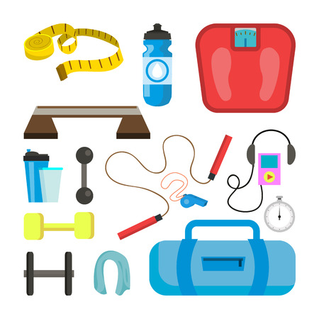 Fitness Icons Set Vector. Sport Tools Accessories. Scales, Tape, Dumbbell, Weight, Towel, Stopwatch Headphones Rope Isolated Flat Illustration. Vettoriali