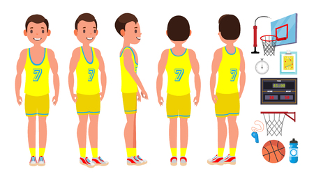 Basketball Male Player Vector. Yellow Uniform. Playing With A Ball. Healthy Lifestyle. Team Action Stickers. Cartoon Character Illustration