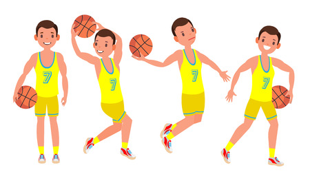 Basketball Player Male Vector. Different Position. Healthy Lifestyle. Isolated Flat Cartoon Character Illustration