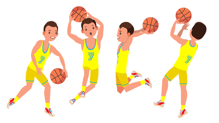 Classic Basketball Player Man Vector. Sports Concept. Different Poses. Sport Game Competition. Flat Cartoon Illustration
