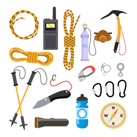 Climbing Icons Set Vector. Rock Trekking Equipment And Accessories. Isolated Flat Illustration