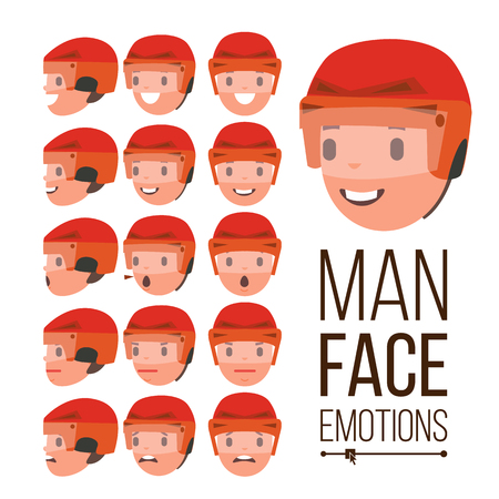 Man emotions vector young male face portraits. Sport, hockey, helmet, sadness, anger, rage, surprise, shock isolated flat cartoon illustration.