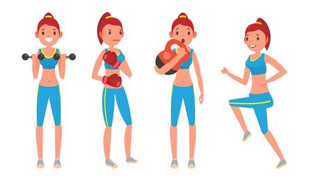 Girl with different fitness pose icon. Illustration