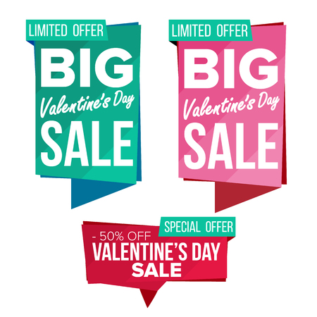 Valentine s Day Sale Banner Collection Vector. Online Shopping. Website Stickers, Love Web Page Design. Valentine Advertising Element. Shopping Backgrounds. Isolated Illustration