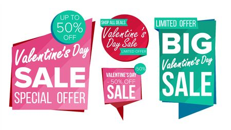 Valentines day sale banner collection vector. online shopping. website stickers, love web page design. Shopping backgrounds isolated illustration.