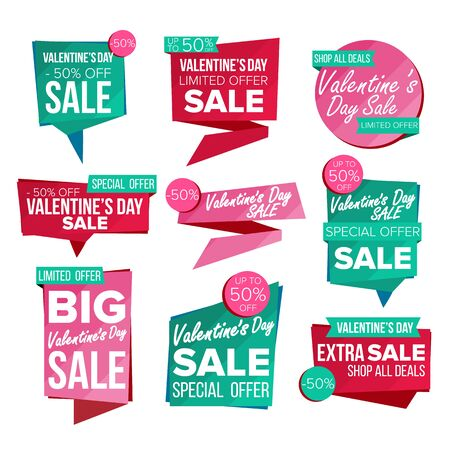 Valentine s Day Sale Banner Set Vector. February 14 Online Shopping. Discount Banners. Valentine Sale Banner Tag. Love Price Tag Labels. Isolated Illustration